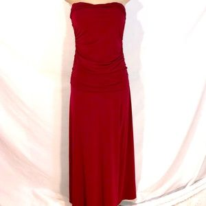 Scarlet red strapless dress